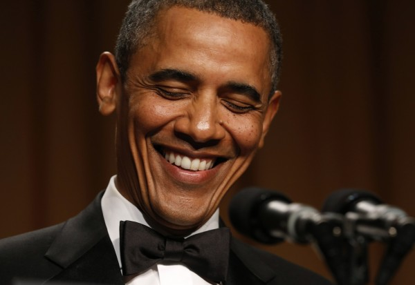 President Barack Obama laughs while speaking at the White House Correspondents' Association Dinner in Washington on Saturday.