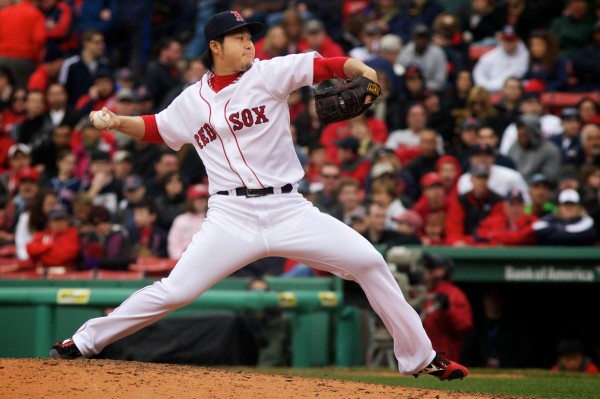 Current Red Sox reliever and former Portland Sea Dog Junichi Tazawa pitches in the late innings of Saturday's game against Tampa Bay.