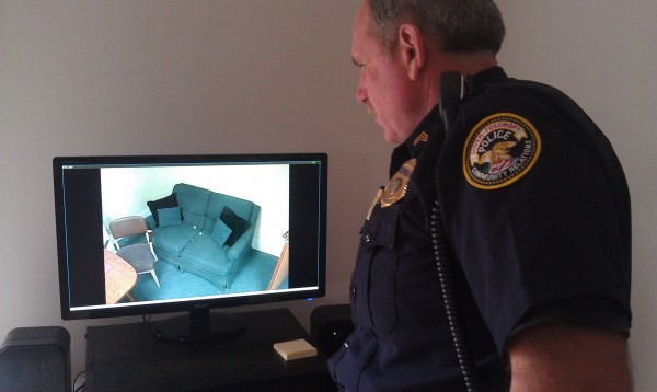 Dover-Foxcroft police Sgt. Todd Lyford shows off the capabilities of a camera system used in a new room that will be the base for interviews involving children in the area suspected of being victims of sexual abuse.