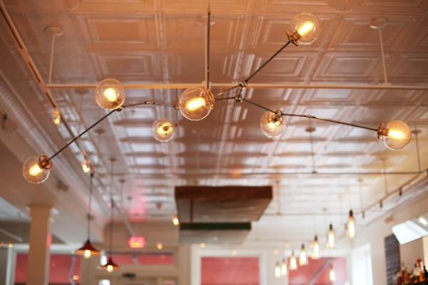 Josh Hixson's handcrafted chandeliers, at 3Crow Restaurant in Rockland.