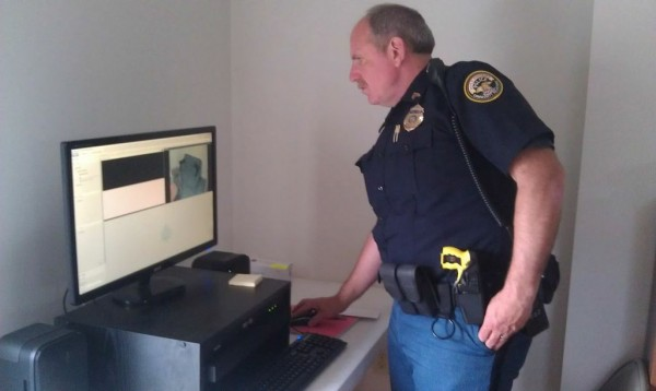 Dover-Foxcroft police Sgt. Todd Lyford shows the camera equipment in the new children's interview room at the town's police station.