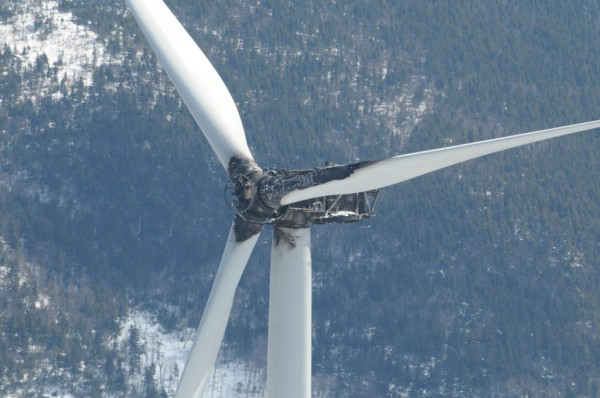 A fire on Jan. 16, 2013, destroyed this turbine at TransCanada's Kibby Mountain wind farm in northern Franklin County.