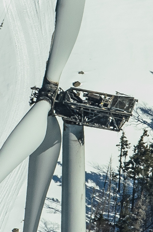 A fire on Jan. 16, 2013, destroyed this turbine -- one of 44 at TransCanada's Kibby Mountain wind farm in northern Franklin County.