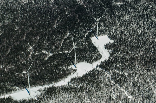 A portion of the 44-turbine Kibby Mountain wind farm. A fire on Jan. 16, 2013, destroyed the turbine on the left.