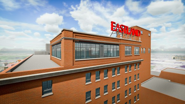 The Eastland Park Hotel's rooftop bar, which will still be known as the Top of the East, is being doubled in size. The two windows on the right, beneath the Eastland sign, are the original Top of the East. The large windows on the left represent an expansion of the bar.