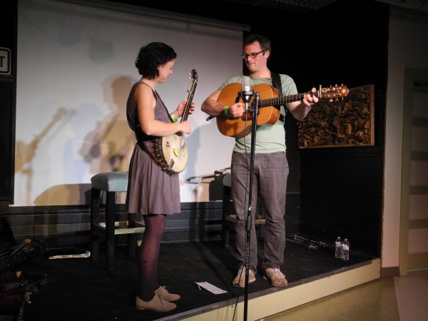 Midcoast musicians Edith Gawler and Bennett Konesni perform Saturday evening at the Free Range Music Festival. The duo got audience members to join in as they taught some work songs, the music people create to turn labor into something between work and play.