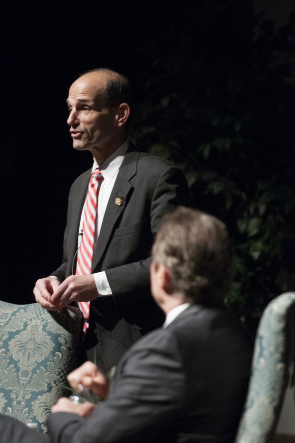 Former Governor John Baldacci (left) speaks about the Fix the Debt campaign with Phil Harriman at Husson University on Friday, April 5, 2013.