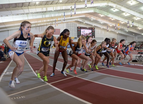 Corey Conner of the University of Maine (sixth from right) gets ready to run the 5,000 meters during the 2013 NCAA Division III Indoor Track and Field Championships on March 8 at Fayetteville, Ark. Conner on Saturday set the UMaine record in the 10,000 meters.