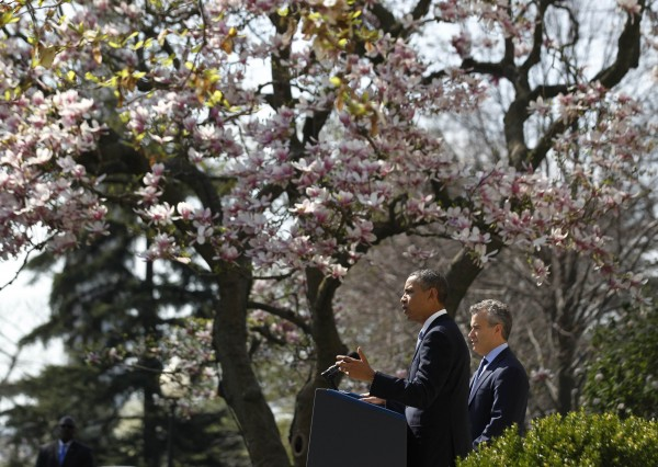 U.S. President Barack Obama delivers remarks on the budget alongside acting Director of Office of Management and Budget Jeff Zients, in the Rose Garden of the White Hose in Washington on April 10, 2013.