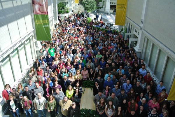 Athenahealth's 574 employees at its Belfast facility gathered Monday for a group photo to mark the company's fifth anniversary in Maine.