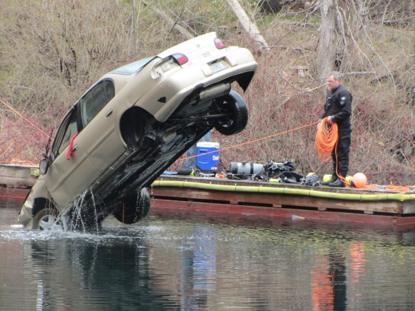 A car that drove into the Simonton Corner Quarry Nature Preserve in Rockport on April 13 was hauled out of the more than 100-foot-deep, water-filled quarry on Thursday morning.