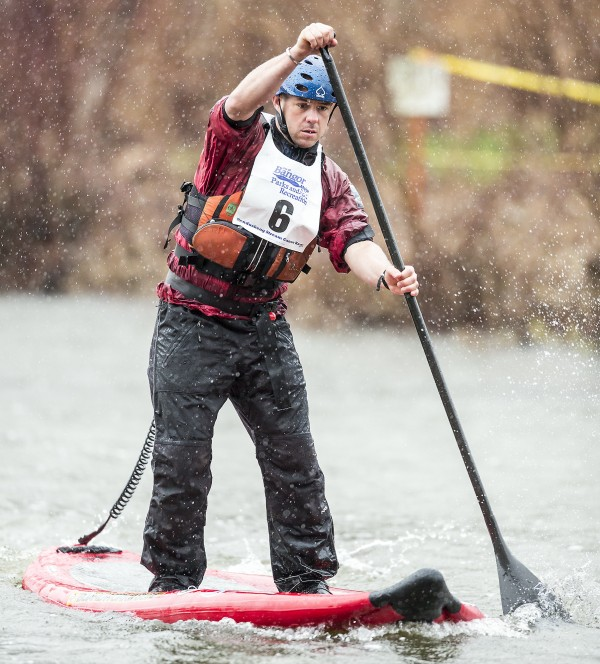 Christopher Strout, owner of Acadia Stand Up Paddle Boarding in Bar Harbor, competes in the 47th Kenduskeag Stream Canoe Race on April 20, 2013, on an inflatable stand up paddle board suited for white water. Strout paddled through all of the rapids and completed the race in approximately 3 hours and 54 minutes.