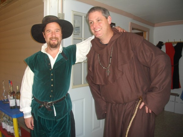 Owner Sean Bailey (right, in friar's costume) with a friend, at Fat Friar Meadery in Newcastle.