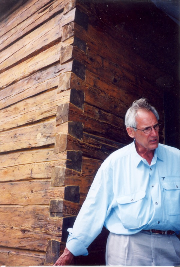 Gregory Johnson describes the distinctive features of the log house from New Sweden that has been reconstructed on his property in Harpswell, preserving the family home where his father and grandfather were born.