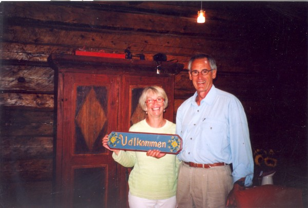 Greg and Joy Johnson welcome visitors to the log home that was dismantled in New Sweden and rebuilt on their salt water farm in Harpswell.