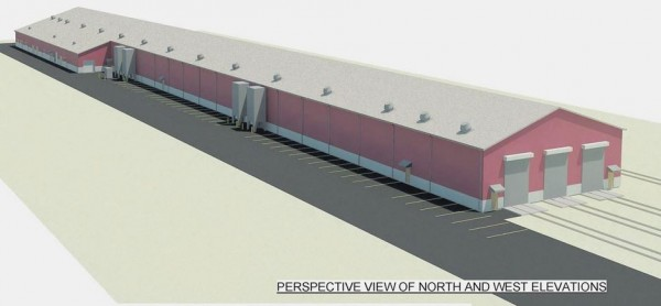 An artist's rendition of the perspective view of the north and west elevations of the proposed train layover facility.