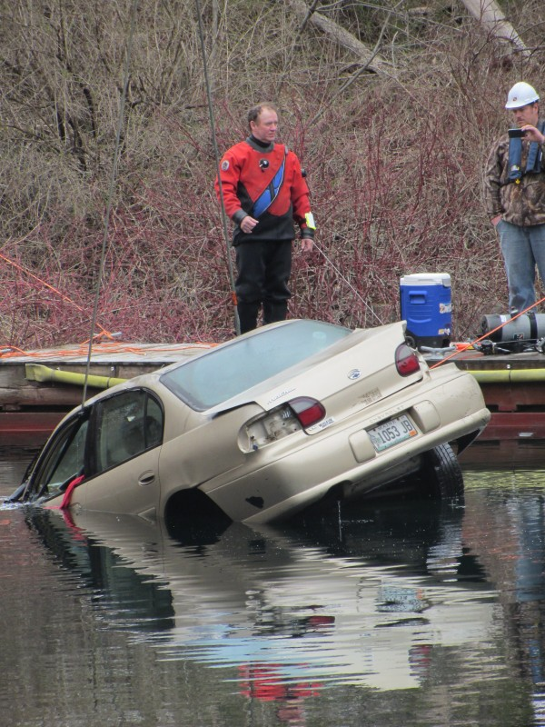 A car that drove into the Simonton Corner Quarry Nature Preserve in Rockport on April 13 was hauled out of the more than 100-foot deep, water-filled quarry on Thursday morning.