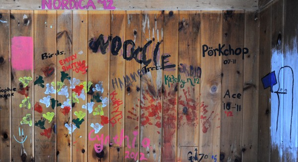 Camp Jordan counselors signed their nicknames on the wall of the storage building.  Most of them started out as campers and when they were old enough returned to the camp as councilors.