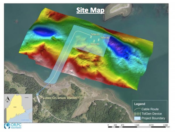 An underwater topographic site map for Ocean Renewable Power Company's Cobscook Bay Tidal Energy Project.