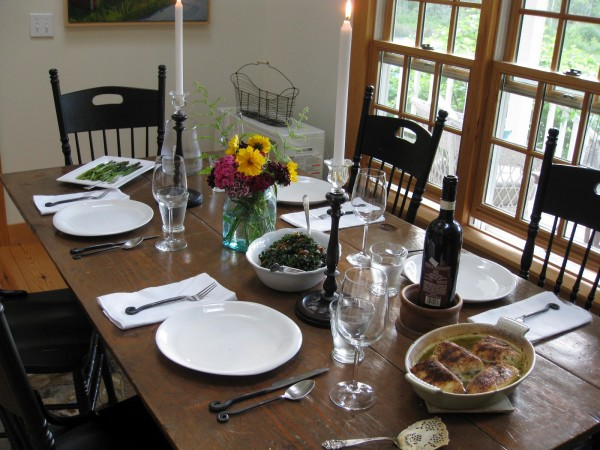 A place setting at Lily's House in Stonington, owned by Kyra Alex.