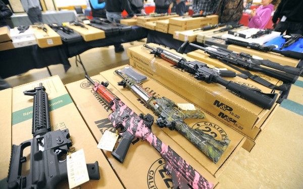 Guns on display at JT Reid's Bangor Gun Show at the Elks Lodge in Bangor on Sunday.