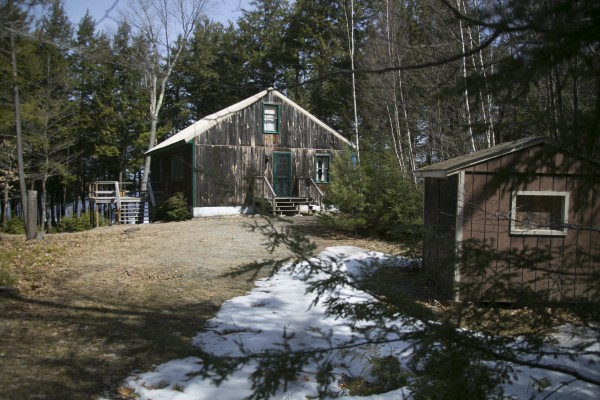 A camp located near the location where Christopher Knight lived in the woods near Rome for 27 years.