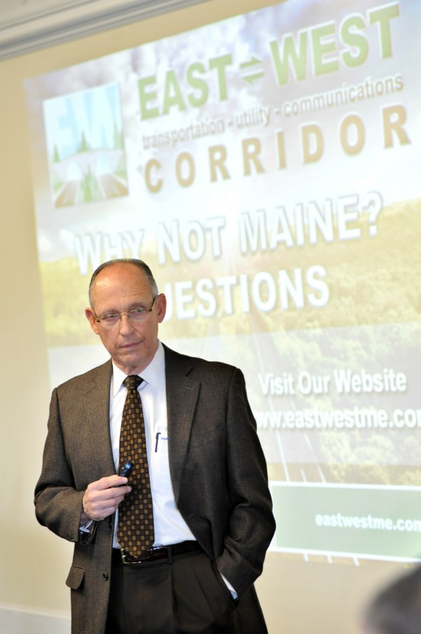 Peter Vigue, chairman and CEO of Cianbro Corp., updates the Penobscot County Commissioners on the east-west corridor at a meeting that was open to the public on Tuesday. The meeting was held at the historic Penobscot County Courthouse.