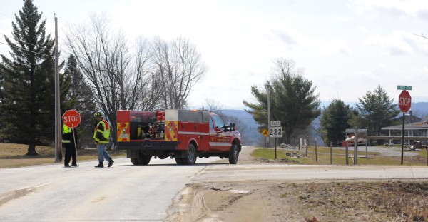The roadblock on Union Street at the intersection of Pember Road in Levant.