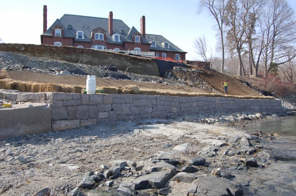 Construction workers had to battle the cold and tides this winter and spring as they took apart and rebuilt a more than century old sea wall protecting the Maine Sea Coast Mission property in Bar Harbor.