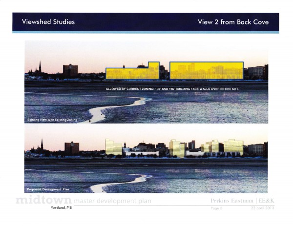 The image on the bottom is what Portland's skyline would look like from Back Cove if The Federated Cos.' project was built as currently designed. The tall building on the left required a zoning change to allow it to be built to 165 feet in height, a change which the City Council approved Monday night. The image on the top represents what The Federated Cos. could build under current zoning height ordinances.