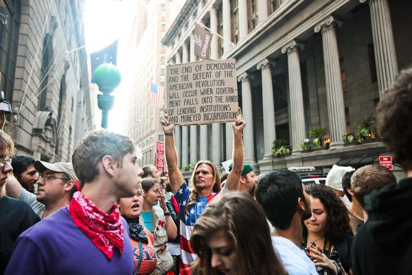 Protesters take to the streets of Lower Manhattan to celebrate the first Anniversary of the Occupy Wall Street movement in Manhattan, New York on September 17, 2012.