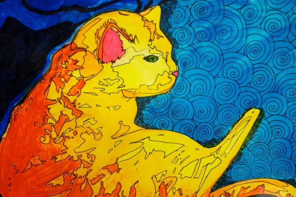 Detail of &quotPatterns&quot by Westbrook High School student Victoria Simoneau hangs in a show in Westbrook dedicated to Simba the cat, who has hung around the school for 13 years.