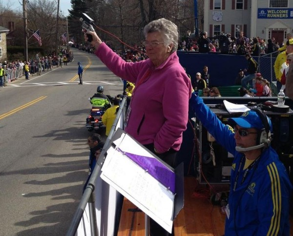 Rosalie Baker-Brown of Yarmouth prepares to fire the starting gun at the 116th Boston Marathon, Monday, April 15, in Hopkinton, Mass.
