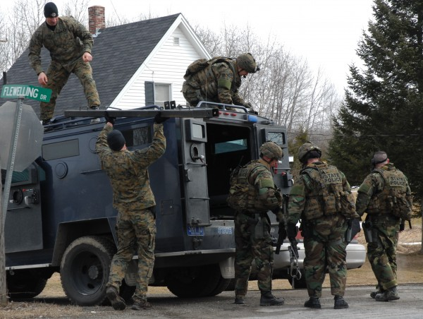 Members of a Maine State Police tactical unit were on the scene of a 10-hour standoff on Flewelling Drive in Crouseville that ended just after 10 a.m. with the peaceful surrender of an unidentified woman.