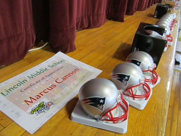 A certificate of appreciation and New England Patriots decorations await professional football player Marcus Cannon Thursday morning at Portland's Lincoln Middle School. Cannon delivered a talk to students at the school about the importance of healthy eating and exercise.