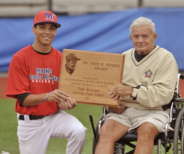 John Winkin of Waterville (right), posing with 2011  Dr. John W. Winkin Award winner Sam Balzano of Portland, has been selected for induction into the College Baseball Hall of Fame. Winkin was the longtime coach at the University of Maine and Colby College and also coached at Husson College.