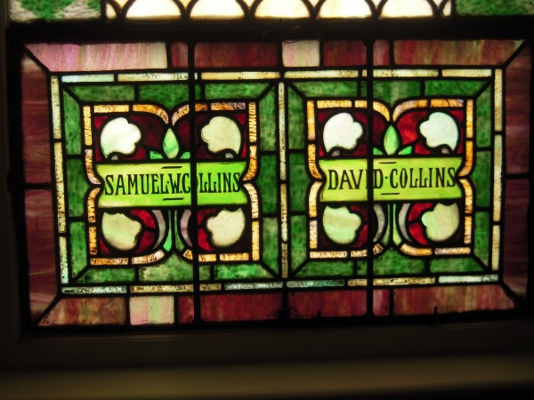 This stained glass window in the Unitarian Universalist Church of Caribou is dedicated to the memory of Samuel W. Collins and David Collins.