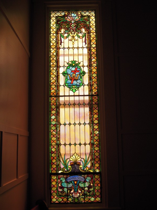 The Hardison stained glass window in the Unitarian Universalist Church honors the family of one of Caribou's first settlers.