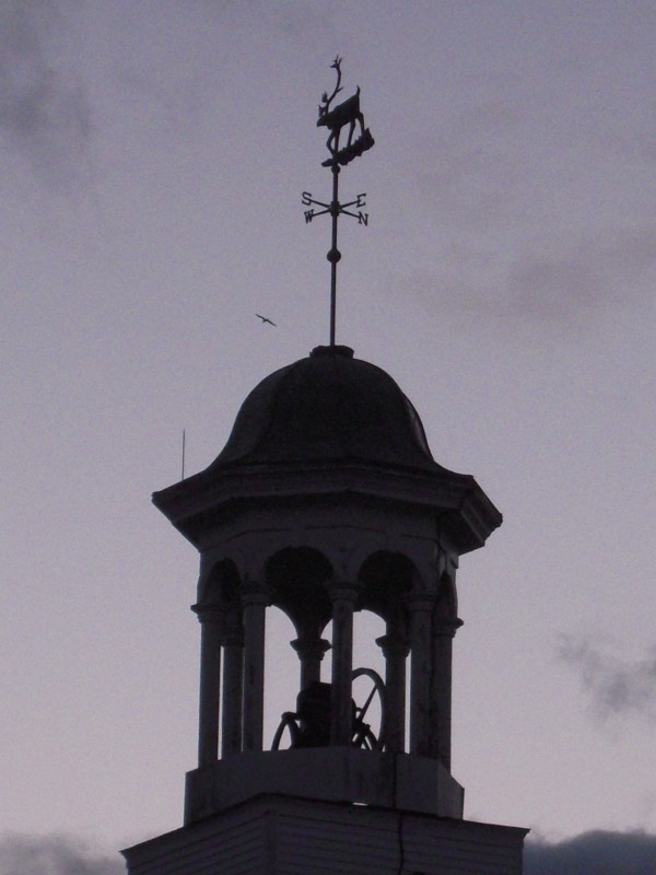 The iconic caribou weathervane atop the cupola of Caribou's Unitarian Universalist Church.