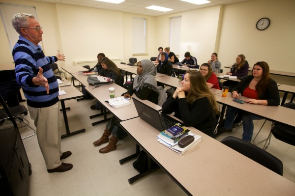 James Dunn starts his intro to lit class at Southern Maine Community College at 8 a.m. Thursday Nov.15, 2012 in South Portland.
