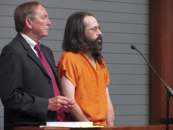 Andrew Kierstead, right, makes an initial appearance in Rockland, Maine, District Court, Monday afternoon, Oct. 1, 2012, accompanied by his attorney Steven Peterson.