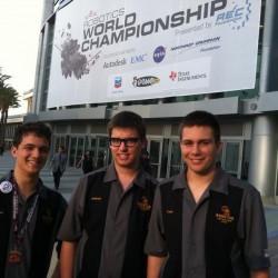 The Cape Elizabeth High School robotics team, Federico Giovine, Anthony Castro and Luke Dvorozniak, outside the Anaheim, Calif., Convention Center for the VEX Robotics World Championship last week.
