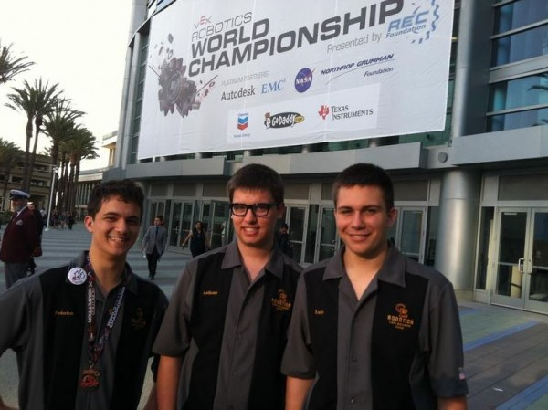 The Cape Elizabeth High School robotics team, Federico Giovine, Anthony Castro and Luke Dvorozniak, outside the Anaheim, Calif., Convention Center for the VEX Robotics World Championship last week.