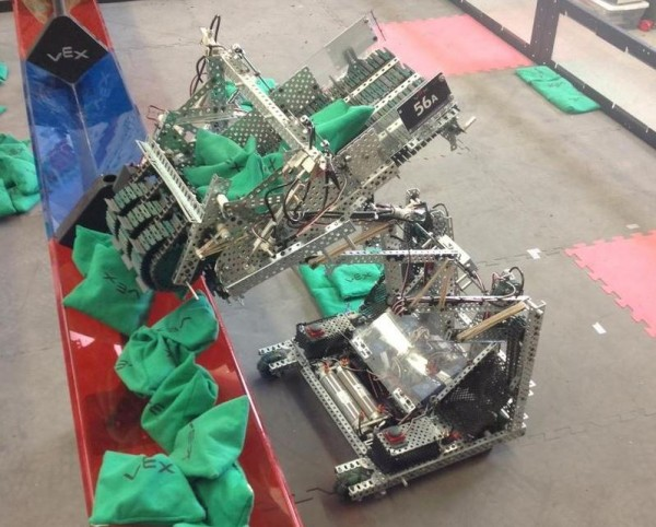 The Cape Elizabeth robotics team robot in action.