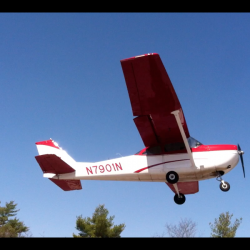 A Warden Service plane takes off from the Maine Turnpike in Litchfield after an emergency landing on Friday, April 26, 2013.