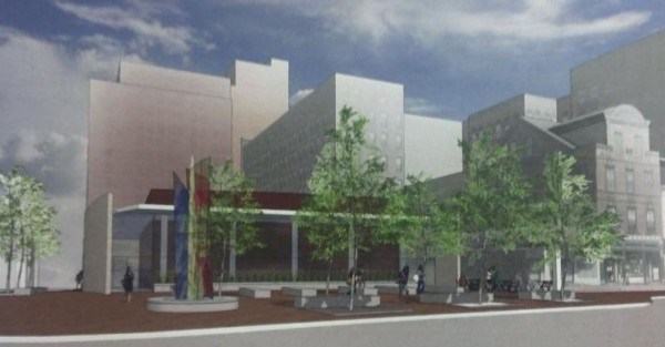 An artist's rendering, looking from across Congress Street, of the event center proposed for Congress Square Plaza. A new design for the center, which would adjoin the Westin Portland Harborview Hotel, was presented April 24.