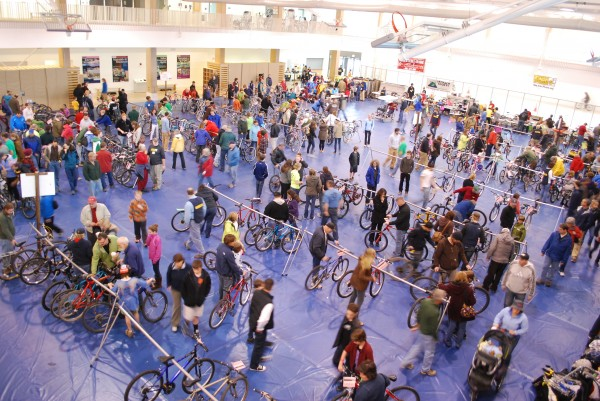 Buyers peruse the Great Maine Bike Swap in April 2012 at University of Maine's New Balance Student Recreation and Fitness Center on the Orono campus.