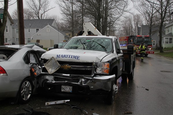 A Maritime Energy truck and a Knox County Sheriff's Office vehicle were heavily damaged Wednesday morning in a crash on Cedar Street in Rockland.