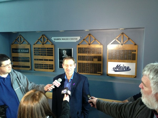 Former University of Maine men's hockey coach Tim Whitehead held a press conference at the Shawn Walsh Hockey Center on UMaine's campus at 11 a.m. Wednesday, April 10, 2013.