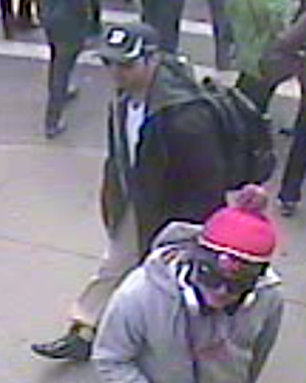 A suspect wanted for questioning in relation to the Boston Marathon bombing April 15 are shown in this handout photo during an FBI news conference in Boston, April 18, 2013.